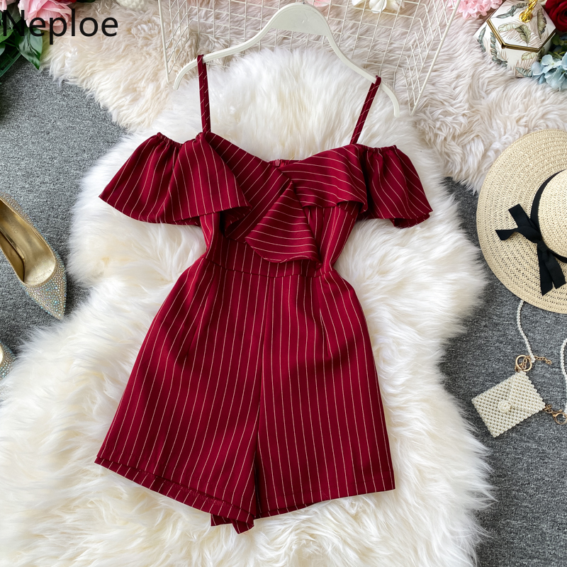 Neploe Korean 2020 New Summer Striped Strapless Shorts Jumpsuits With Ruffle Straps Holiday Beach Style Solid Playsuits 81009