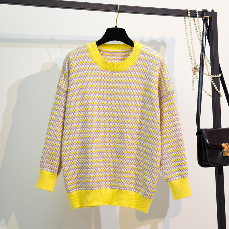Stripe Loose All Match Jumper O-Neck Autumn Knitwear Sueter Mujer Soft Knitted Sweater Pullover Long Sleeve Fashion Women New