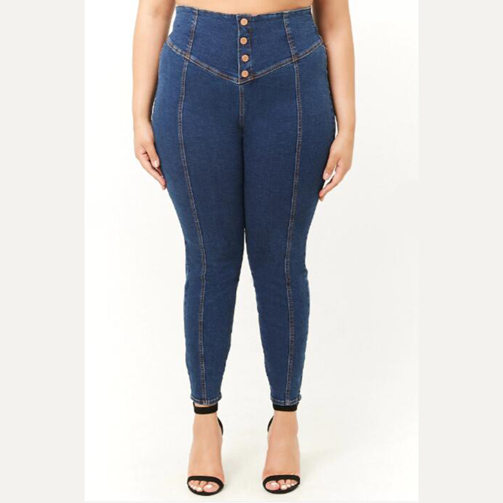 Women High Waist   Jeans   Large Size Button Ladies Denim Blue Pancil Pants Plus Size 5XL Female Casual Skinny   Jeans     jean   femme D40