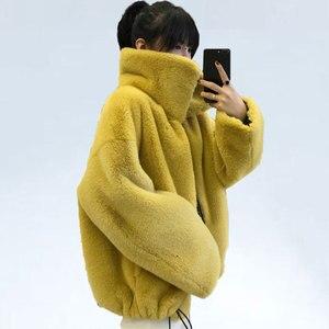 Image 2 - אופנה מותג פלאפי גדול צווארון פו פרווה מעיל נשי עבה חם שועל פרווה חזיית רוכסן תפרים מעיל עם שרוך