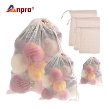 Anpro 1x мешки для фруктов и овощей хлопок моющийся многоразовый производство кухня сетчатый мешок для хранения с кулиской домашняя кухонная для хранения