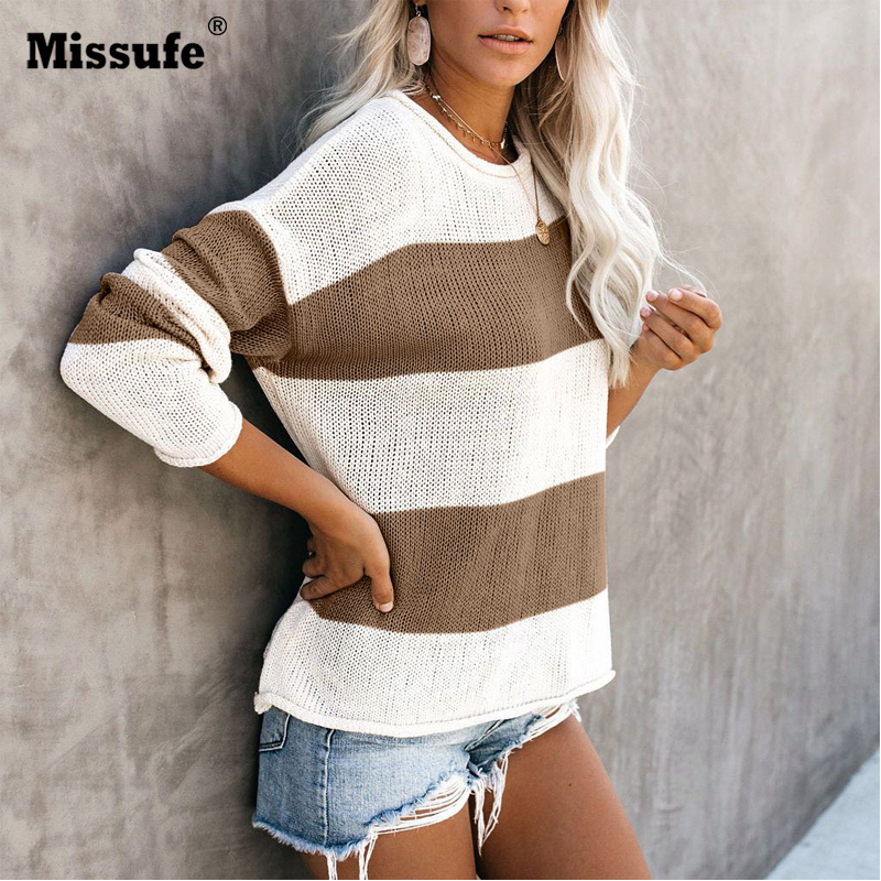 Missufe Sweaters Women Winter Pullover 2019 Jumpers Knitted Clothes Fashion Stitching Striped  Knitting Sweater Womens