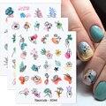 1 лист в форме цветка в форме листа Водные Наклейки абстрактные линии уход за кожей лица, наклейки переводятся при помощи наклеек для ногтей,...