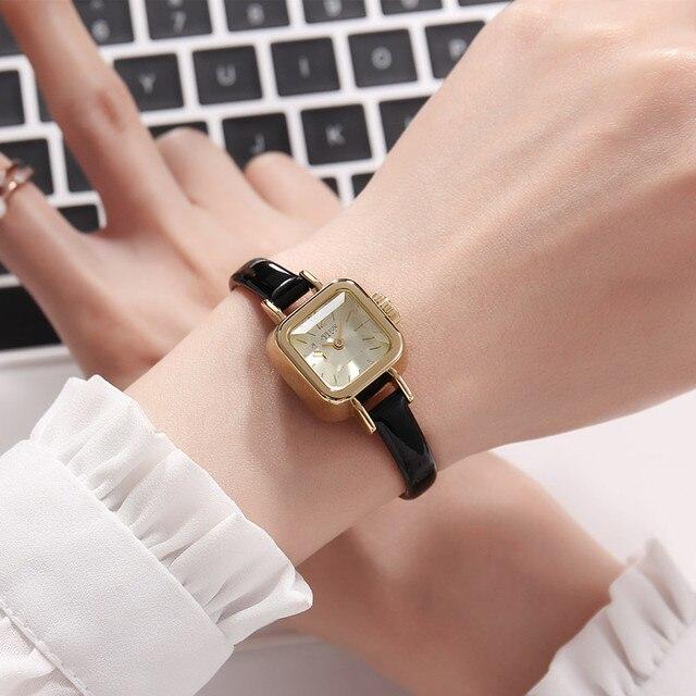 Dziewczyna unikalne kwadratowe małe zegarki damskie zegarki damskie cienki skórzany pasek zegarki kwarcowe różowe złoto kobiece moda zegarek Montre Femme