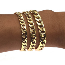 Bracelet for Men Women Curb Cuban Link Chain Stainless Steel Mens Womens Bracelets Chains Jewelry for Men цена 2017