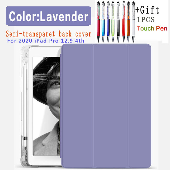 Lavender-12.9 4th Red For iPad Pro 12 9 2020 semi transparent back Case with pencil holder case for Apple