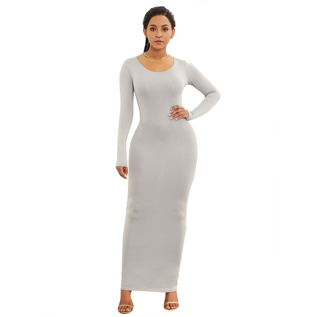 HOT SALES!!! Spring Autumn Sexy Women Solid Color Long Sleeve Round Neck Bodycon Maxi Dress evening party dress sexy comfortable 10
