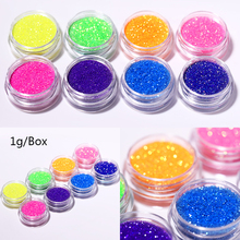 1g/Box Fluorescent Sugar Nail Art Glittery Powder Dust Candy Colors Iridescent Sparkling Decoration for Tips