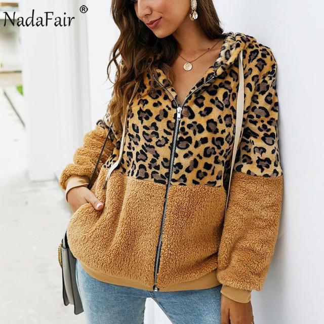Nadafair Leopard Patchwork Women Teddy Coat Autumn Hooded Fluffy Plush Winter Faux Fur Jacket Coat Women Plus Size Overcoat