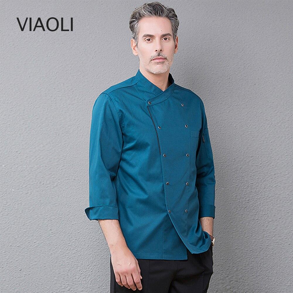 New Chefs Coat Catering Cooking Hat Work Uniform Elastic Kitchen Work Clothes Unisex Restaurant Uniform Blue Uniform Jacket 2019
