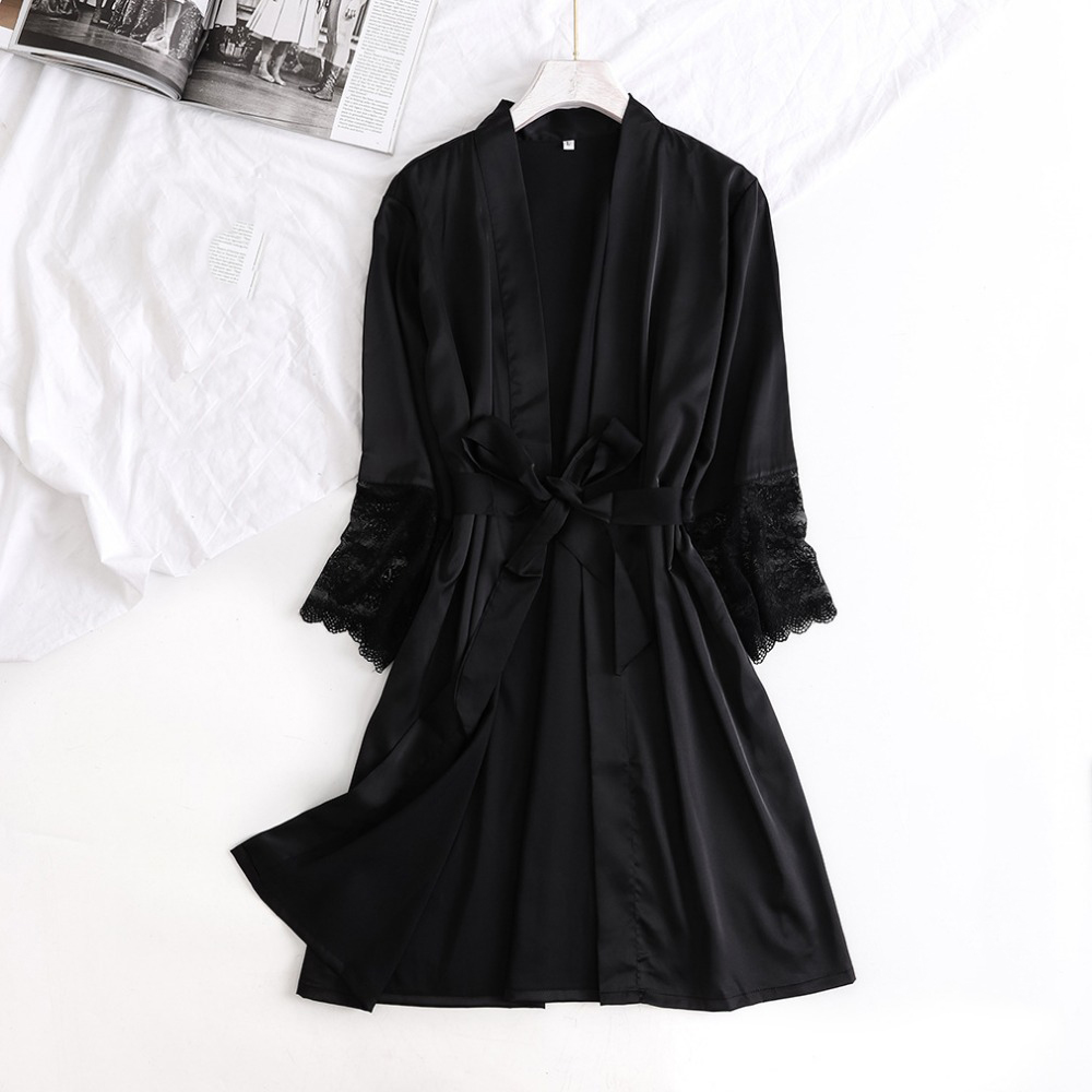 Satin Bride Bridesmaid Wedding Robe Half Sleeve Intimate Lingerie Lace Kimono Gown Summer New V-neck Casual Women Nightwear