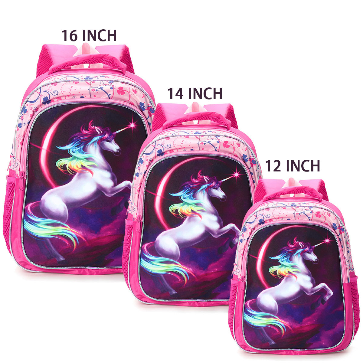 Fashion Backpack 12/14/16 Inch Horse Design Kids Backpack Girls School Book Bag Travel Accessories Polyester Backpack Gifts