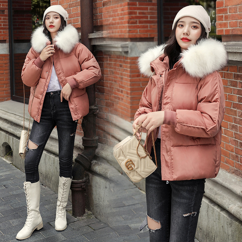Short Cotton Coat Women's 2019 New Style Korean-style Loose-Fit INS Down Coat Thick Down Feather Cotton-padded Clothes Winter Fu