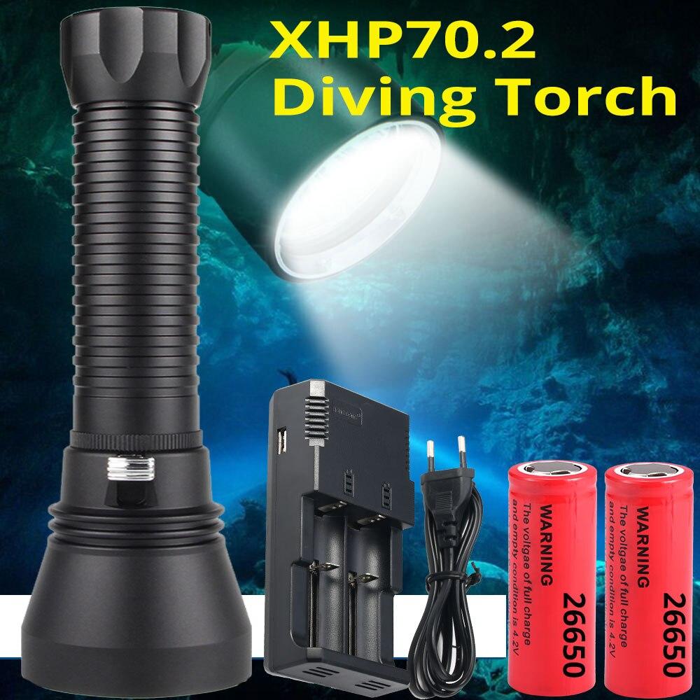 Linterna LED de buceo más potente XHP70.2, linterna submarina de 200 m, linterna impermeable XHP50 IPX8, lámpara de buceo XHP70-in Linternas y antorchas from Luces e iluminación on AliExpress