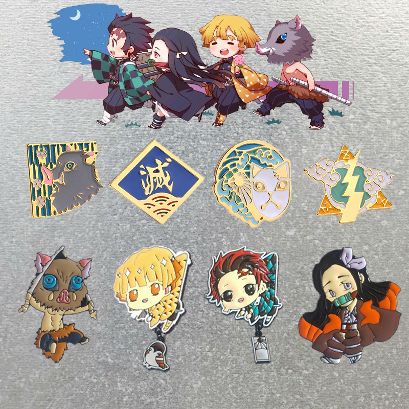 Demon Slayer Kimetsu No Yaiba Cosplay Brooch Badge Kamado Tanjirou Nezuko Metal Enamel Brooch Pin Prop