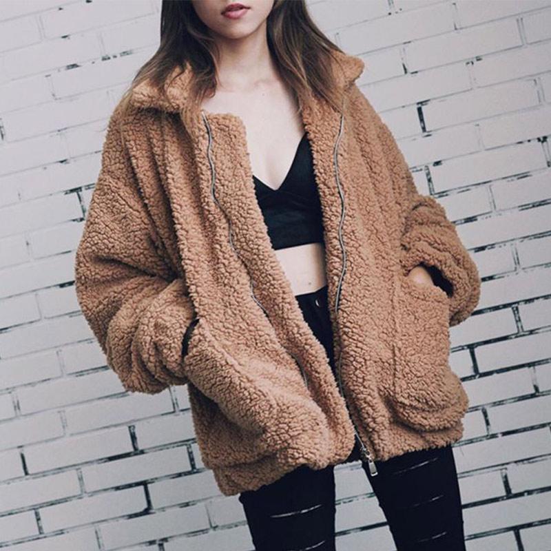 Faux Fur Coat Women Elegant 2019 Autumn Winter Warm Soft Zipper Fur Jacket Female Plush Overcoat Pocket Casual Teddy Outwear