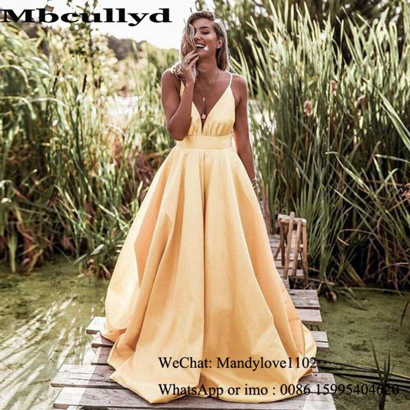 Mbcullyd أصفر فاتح فساتين لحضور الحفلات الموسيقية طويلة 2020 فستان سهرة بدون ظهر للنساء جديد أنيق