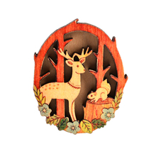 KCALOE Deer Squirrel Wood Brooches For Girl Colorful Brooch Pin Coat Accessories Happy Christmas Eve Kid Best Gift 40X55mm