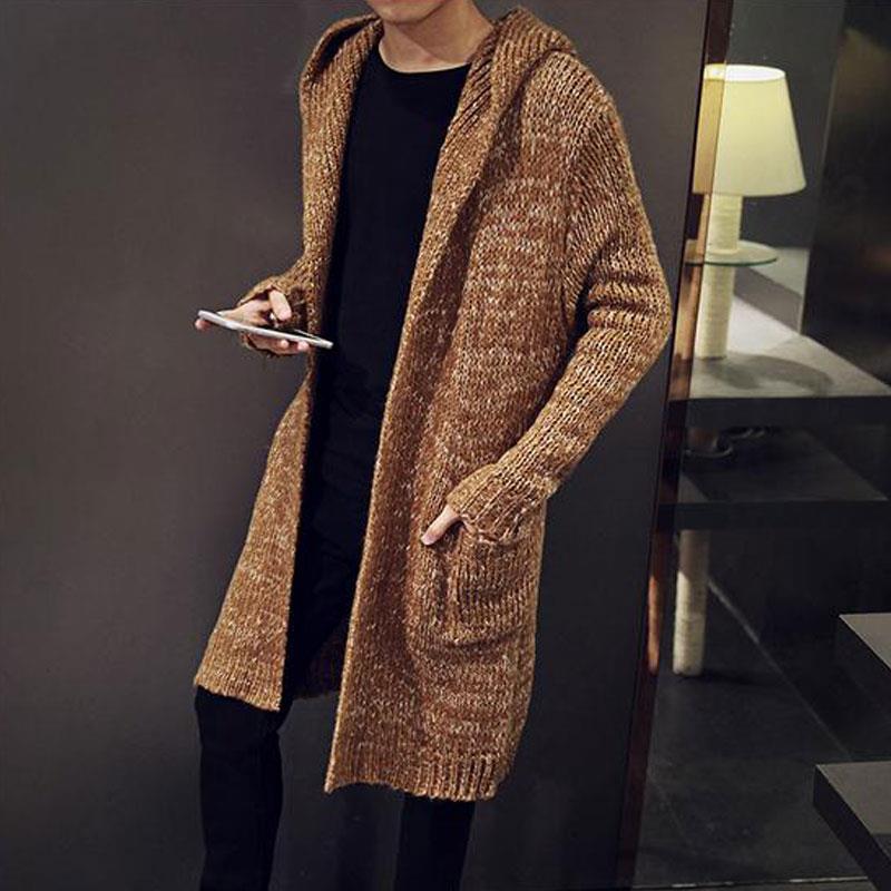 Warme Trui Mannen 2018 Herfst Winter mannen Lange Gebreide Vest Hooded Sweater Overjas Effen Kleur Mid lengte Stijl hoody Jas