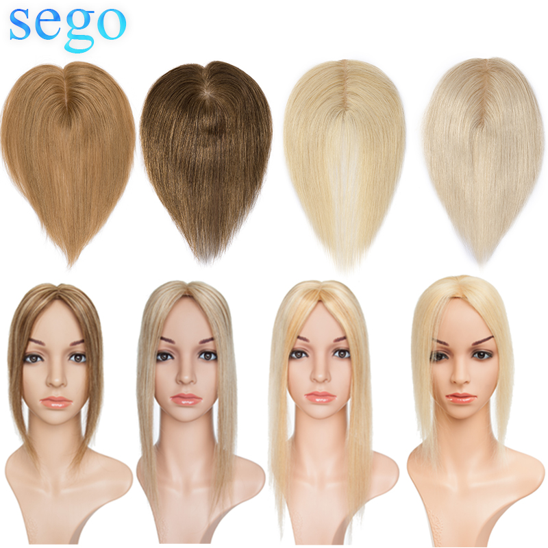 SEGO 6-22inch 6x9cm Straight Silk Base Hair Topper Human Hair Toupee For Women Pure Color Non-Remy WomenToupee With Double Knots