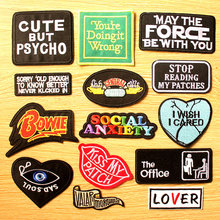 Social Anxiety Letter Stripe Iron On Patches For Clothing Hippie Embroidery Applique Badge Sticker T-shirt Fabric Patch