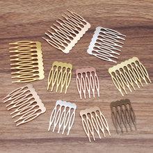 5/10 dentes de metal pente de cabelo bronze tom grampos de cabelo garra diy jóias descobertas & componentes casamento suprimentos de cabelo