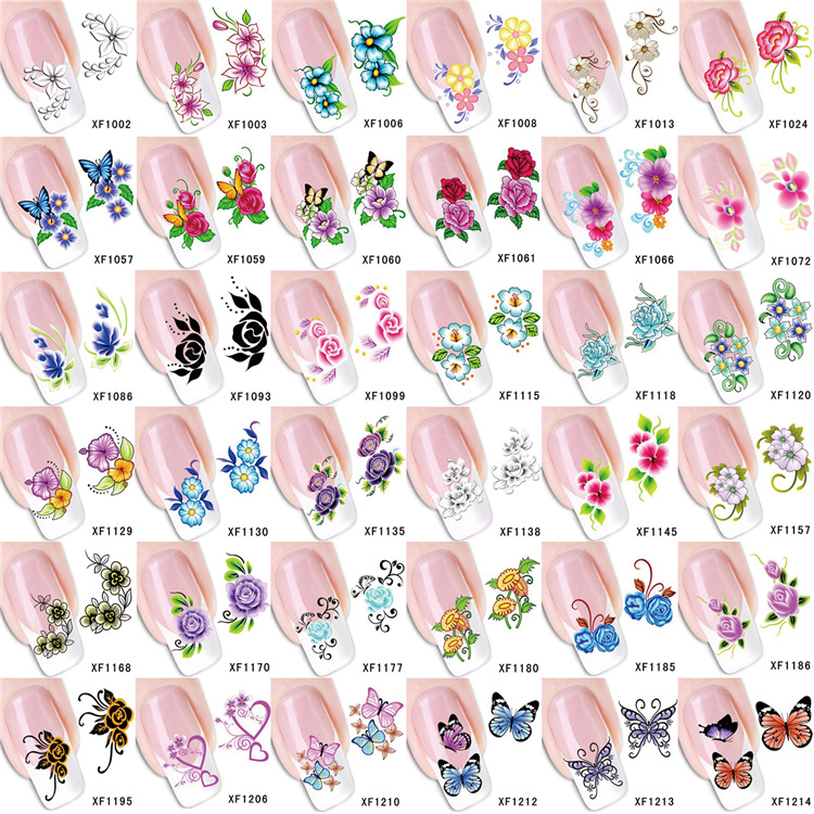 AliExpress Hot Selling New Style Nail Sticker Water Transfer 3D Nail Decals Stereo Elegant Flower Nail Sticker