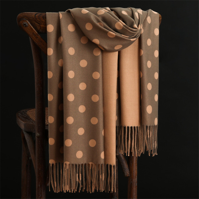 Fashion Winter Scarf Warm Cashmere Scarves Dot Pattern High Quality Long Tassels Women Thicken Wrap Shawl Ladies Wool Pashmina