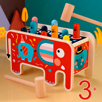Colorful Wooden Whack-A-Mole Game Early Educational Toys Kids Musical Bus Baby Girl Boy Toys Hand Knocking Hamster Montessori 1