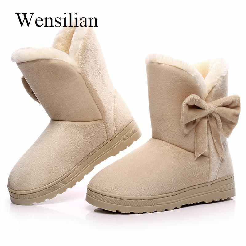 Winter Women Ankle Boots Butterfly Knot Snow Boots Slip on Round Toe Platform Shoes Flock Bow Tie Botines Black Botas Mujer
