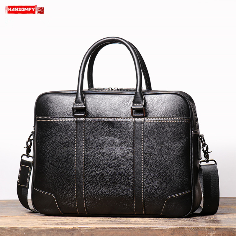New Men Handbag Men's Business Large Capacity Laptop Bag Vintage Leather Briefcase Simple Male Shoulder Messenger Bags