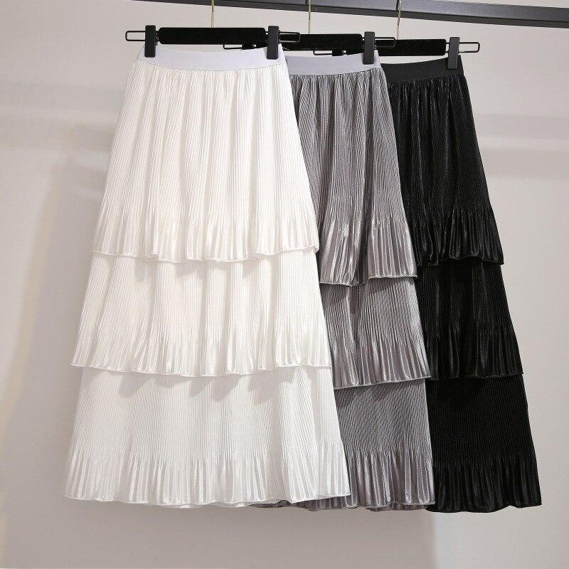2019 Spring Clothing Fat Mm Korean-style Fashion High-waisted Versatile Tutu Mid-length Cake Dress Skirt
