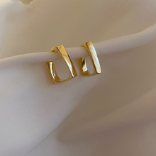 Korean New Square Design Sense Metal Stud Earrings Compact Simple Shining Golden Ear Studs For Women Party Jewelry Gift