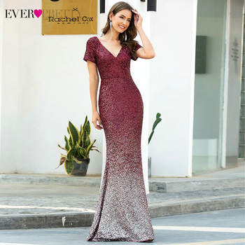 Sexy Burgundy Mermaid Prom Dresses Long Ever Pretty Sequined Deep V-Neck Short Sleeve Sparkle Party Gowns Vestidos De Gala 2020