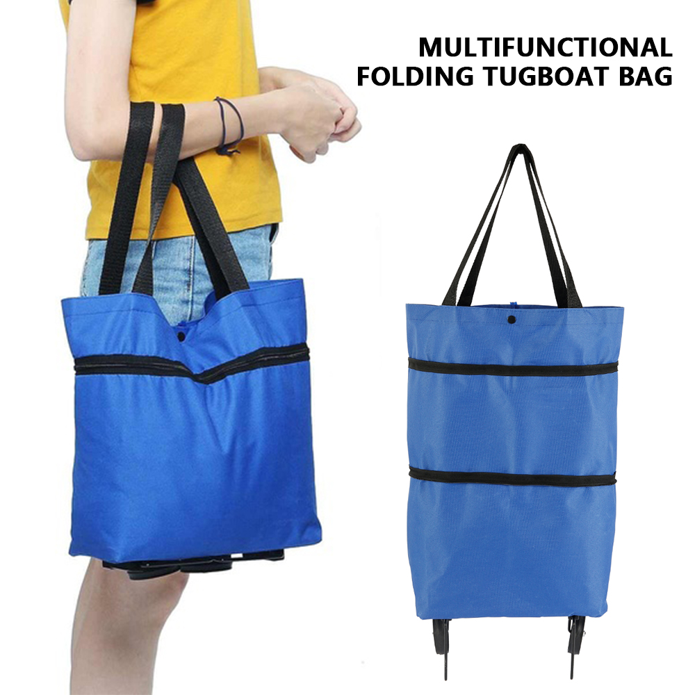 Foldable Shopping Bag Oxford Cloth Reusable Bag For Shopping Cart On Wheels Portable Shopper Bag Folding Tote Grocery Bags Blue