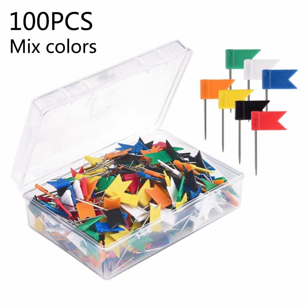 100 Pcs Flag Push Pins Marker Marking Thumbtack For Notice Cork Board Map Plastic Pin Office School Supplies Wall Nails Photo