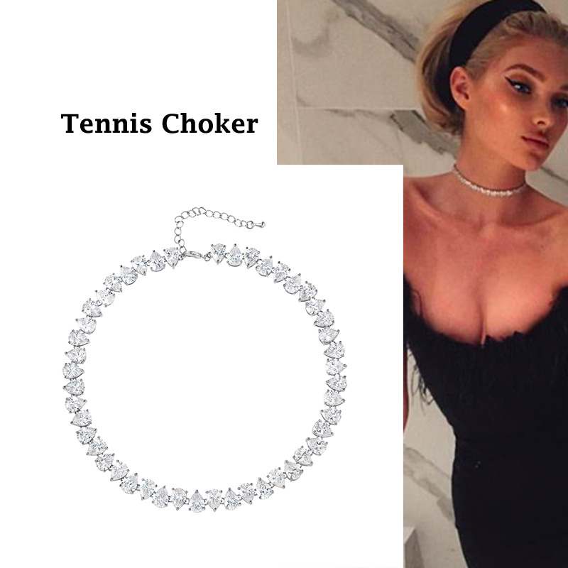 WEIMANJINGDIAN New Arrival Pear Cut Ice Cubic Zirconia CZ Crystal Shinning Tennis Choker Necklace for Women Jewelry Gifts(China)