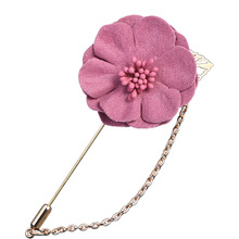 Korean Cloth Flower Long Needle Brooches Pins Suit Lapel Pin Fashion Simple Gold Chain Brooch Garment Women Accessories Jewelry long chain with windmill shape brooches pin