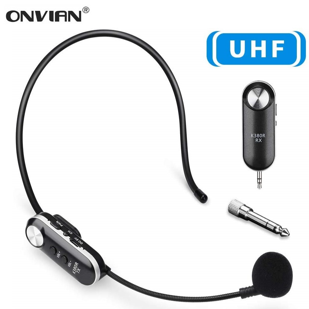 Onvian Wireless Microphone Headset 50M UHF Wireless Headset Mic System for Voice Amplifier Stage Speakers Teacher Tour Guides