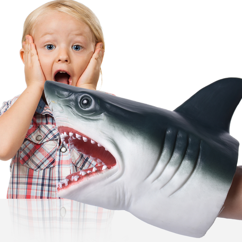 Kids Jokes Games Shark Hand Puppet Soft Rubber Animal Head Hand Puppets Realistic Shark Model Figure Toys For Children Gifts