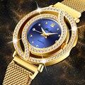 MISSFOX Magnética Mulheres Relógio de Luxo Da Marca Mulheres Relógios À Prova D' Água Diamante Oco Senhoras relógio de pulso de Quartzo Azul Elegante do Ouro
