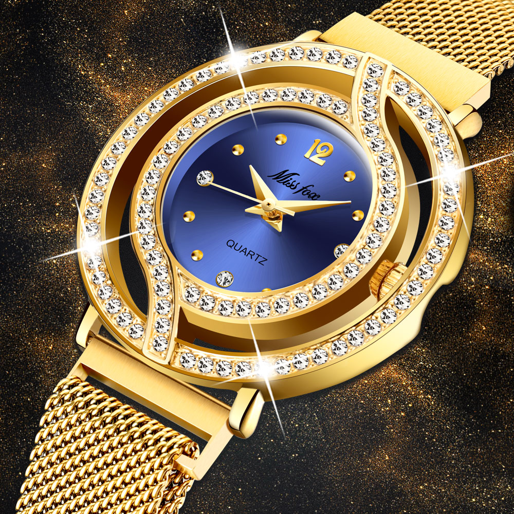 MISSFOX Magnetic Watch Women Luxury Brand Waterproof Diamond Women Watches Hollow Blue Quartz Elegant Gold Ladies Wrist Watch