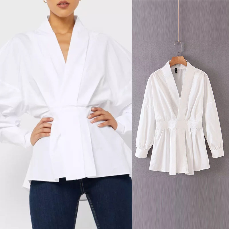 Enking 2020 Women Chic Oversized White Za Blouse V Neck Back Elastic Long Sleeve Shirt Female Stylish Office Wear Tops Blusas