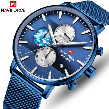 NAVIFORCE 9169 Men Watch Blue Sport Quartz Watches Mens Stainless Steel Chronograph with box