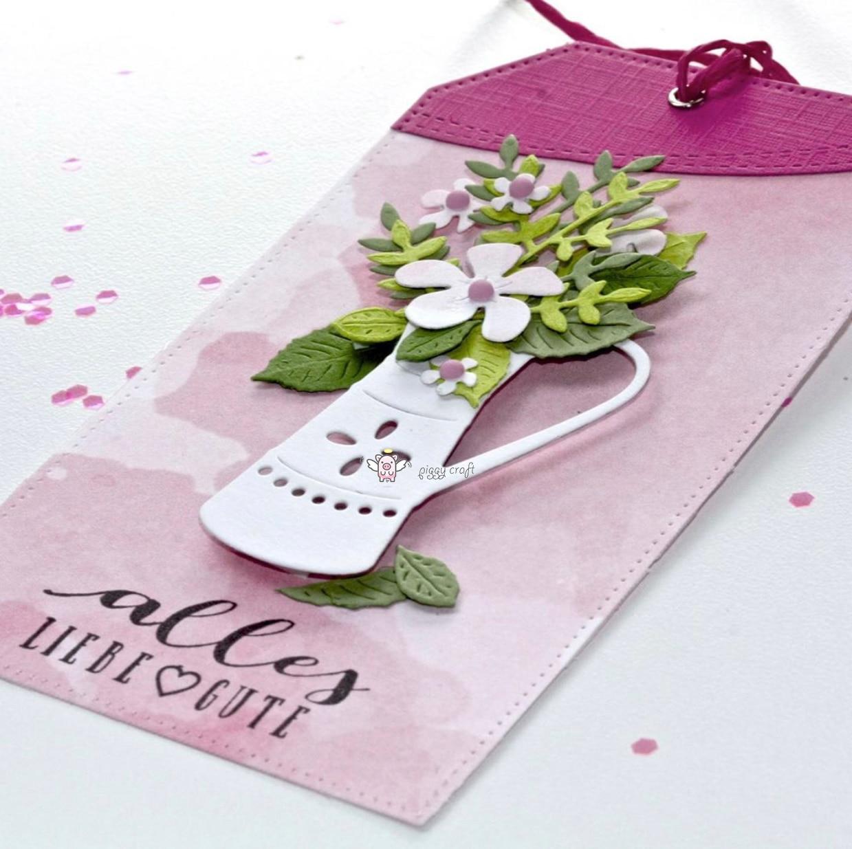 Image 4 - Piggy Craft metal cutting dies cut die mold Flower leaf pot basket Scrapbook paper craft knife mould blade punch stencils dies-in Cutting Dies from Home & Garden