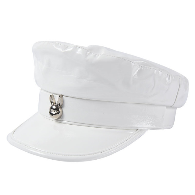 New Fashion Patent Leather Beret Ladies Hats Solid Color Flat Top Hat PU Slouchy Bone Cap Women