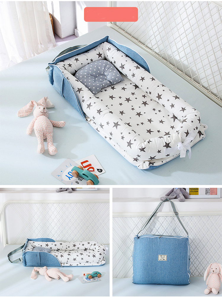 Portable Baby Bed Newborn Foldable Crib Travel Bed Infant Cotton Breathable Basket Protect Cradle Cushion Bumper Crib For Baby