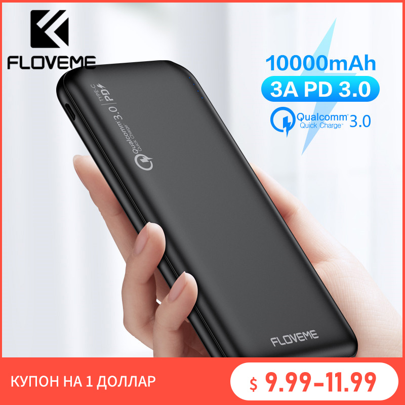 FLOVEME Quick Charger 3.0 Power Bank 10000Mah PD 3.0 Fast 18W Powerbank 10000 Mah External Mobile Battery For iPhone Xiaomi Fast|Power Bank|   - AliExpress