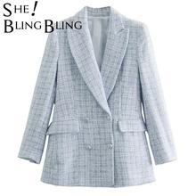 SheBlingBling-Chaqueta de mujer con doble botonadura color azul claro, chaqueta de mujer para oficina, Traje a cuadros, ropa de trabajo, 2021