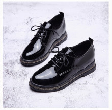 YeddaMavis Shoes Women Boots Black Leather Shoes Women Shoes New Wild British Style Harajuku Lace Up Shoes Womens Shoes Woman(China)
